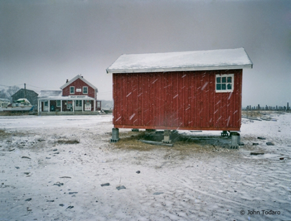 Red Shack in Snow, New Suffolk