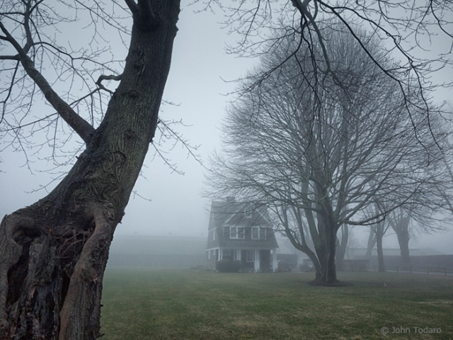 house in fog
