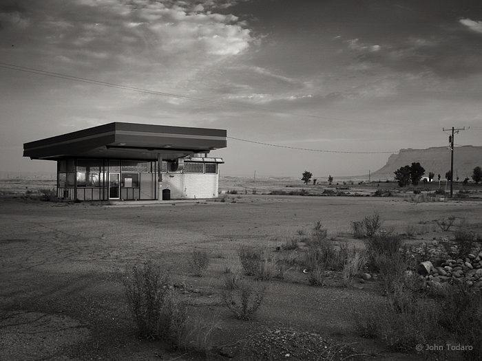 Abandoned Gas Station at Dawn