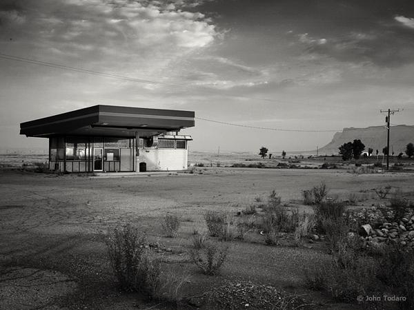 Abandoned Gas Station at Dawn